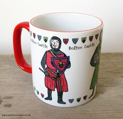 Bolton Castle Knights Trio bespoke mug design