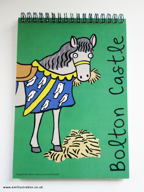 Bolton Castle children's sketchpad with medieval horse design