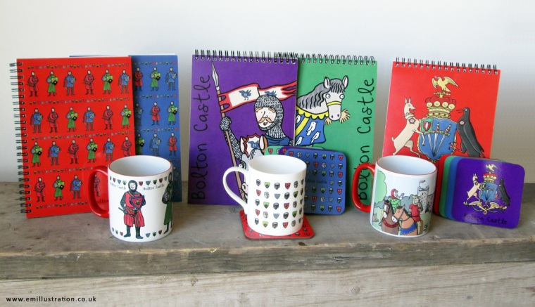 Photo of Bolton Castle range of bespoke illustrated children's souvenir notebooks, mugs & coasters with illustrated designs