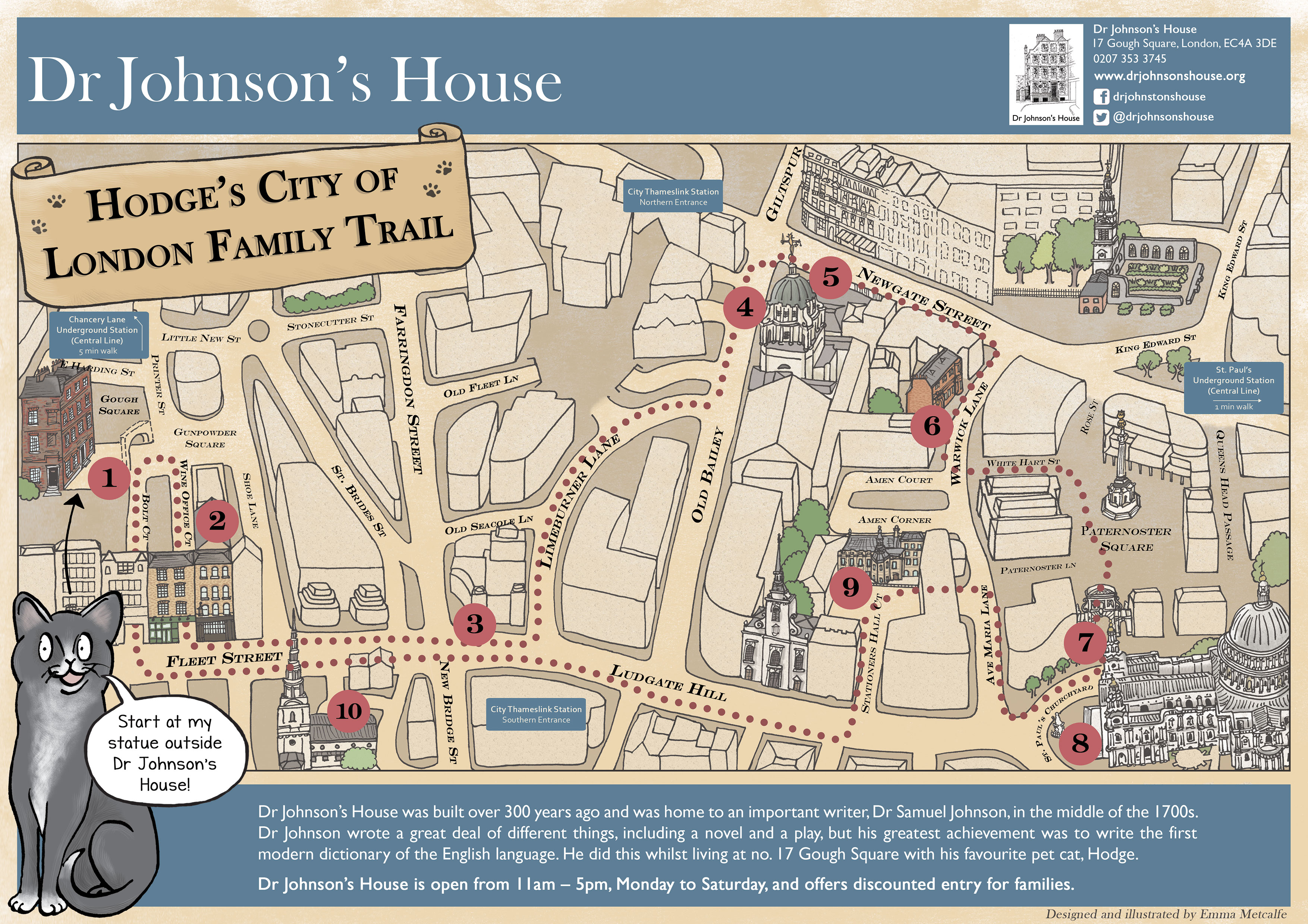 Illustrated map of the historic City of London Dr Johnsons House