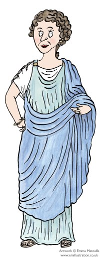 Illustrated character of Roman lady wearing a stola