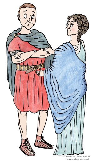 Illustration of Roman man and woman talking and looking worried