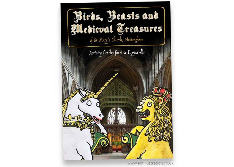 Front cover showing interior of St Mary's Church with lion and unicorn illustrated cartoon characters
