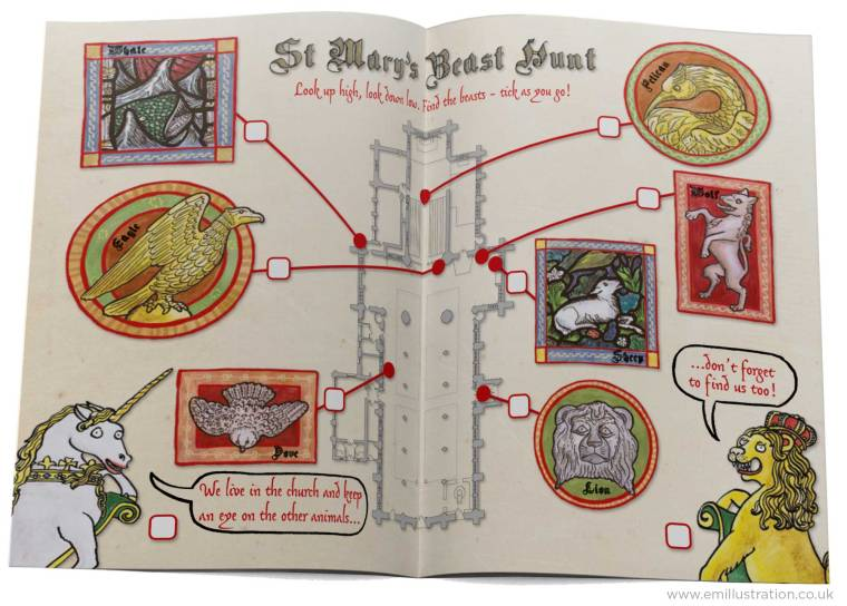 Illustrated children's trail depicting animals to spot around the church