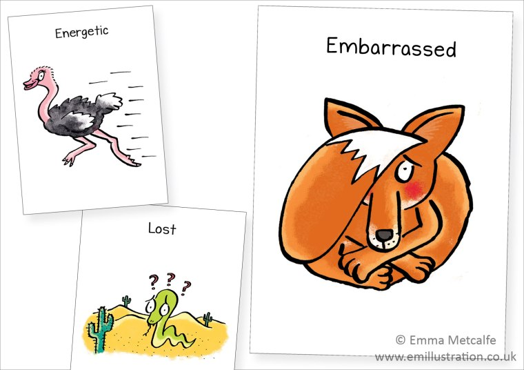 Animal-illustrations-for-children-showing-feelings-emotions---fox,-snake,-ostrich-by-children's-illustrator-emma-metcalfe