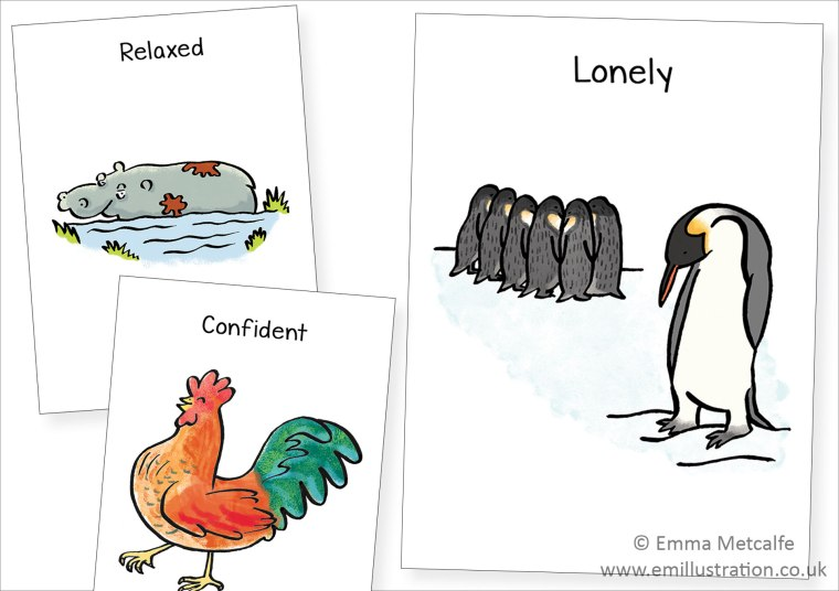 Animal-illustrations-for-children-showing-feelings-emotions---lonliness,confidence,relaxed-by-children's-illustrator-emma-metcalfe