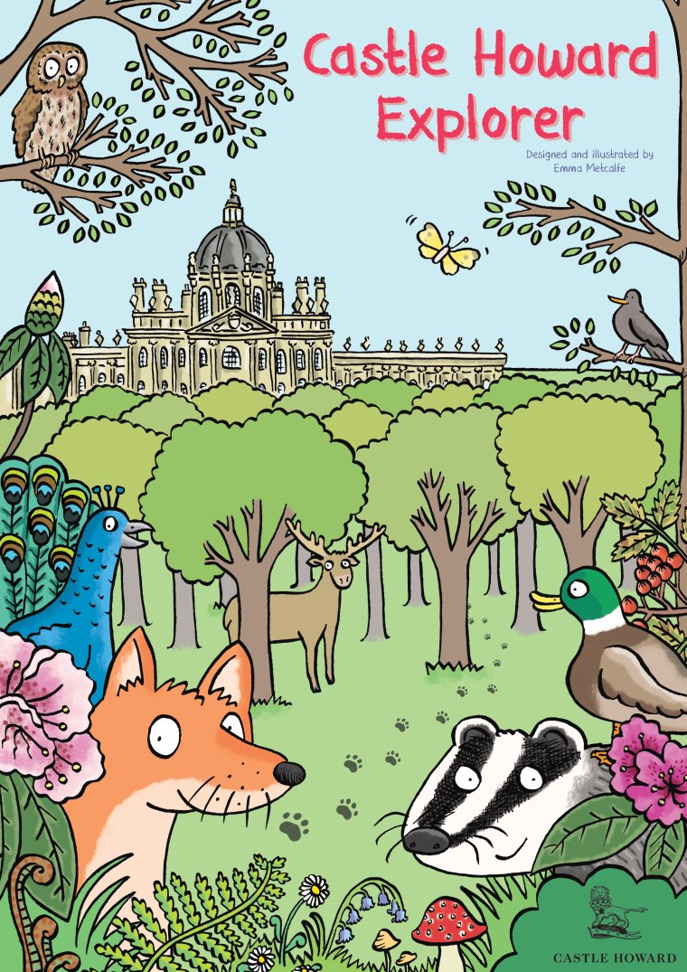 castle-howard-explorer-children's-trail-woodland-scene-with-cartoon-animals-front-cover-design-by-emma-metcalfe