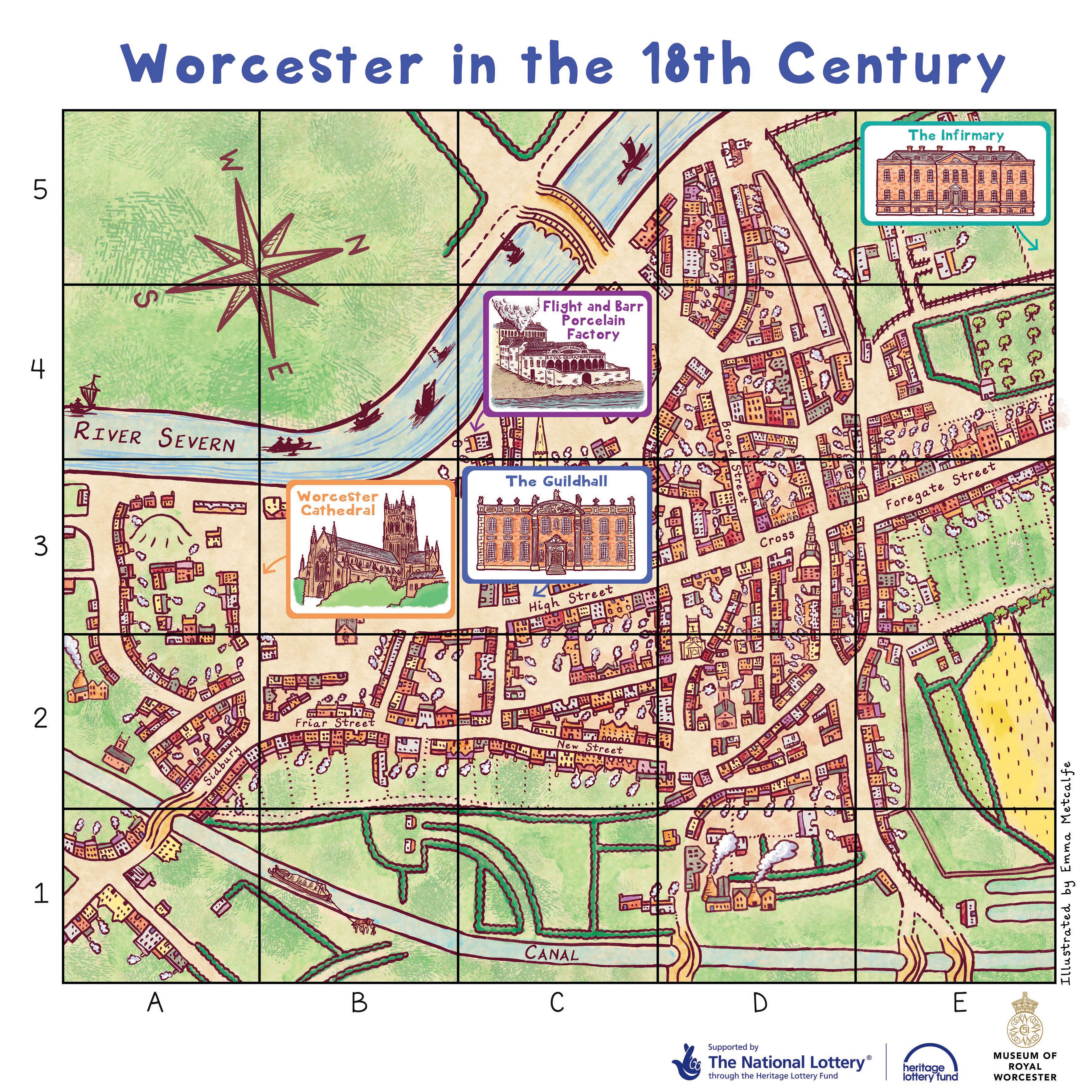 hand-drawn colourful illustrated children's map for museum educational activity by illustrator Emma Metcalfe