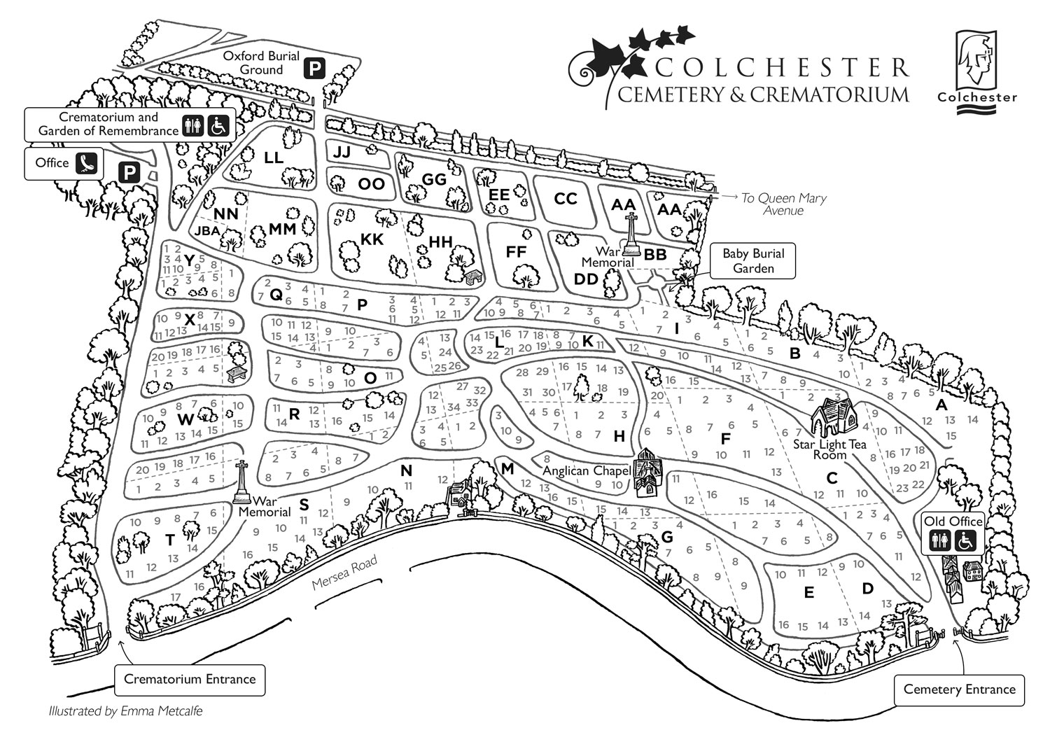 hand drawn illustration black and white line map illustrated bespoke visitor orientation map of Colchester Cemetery