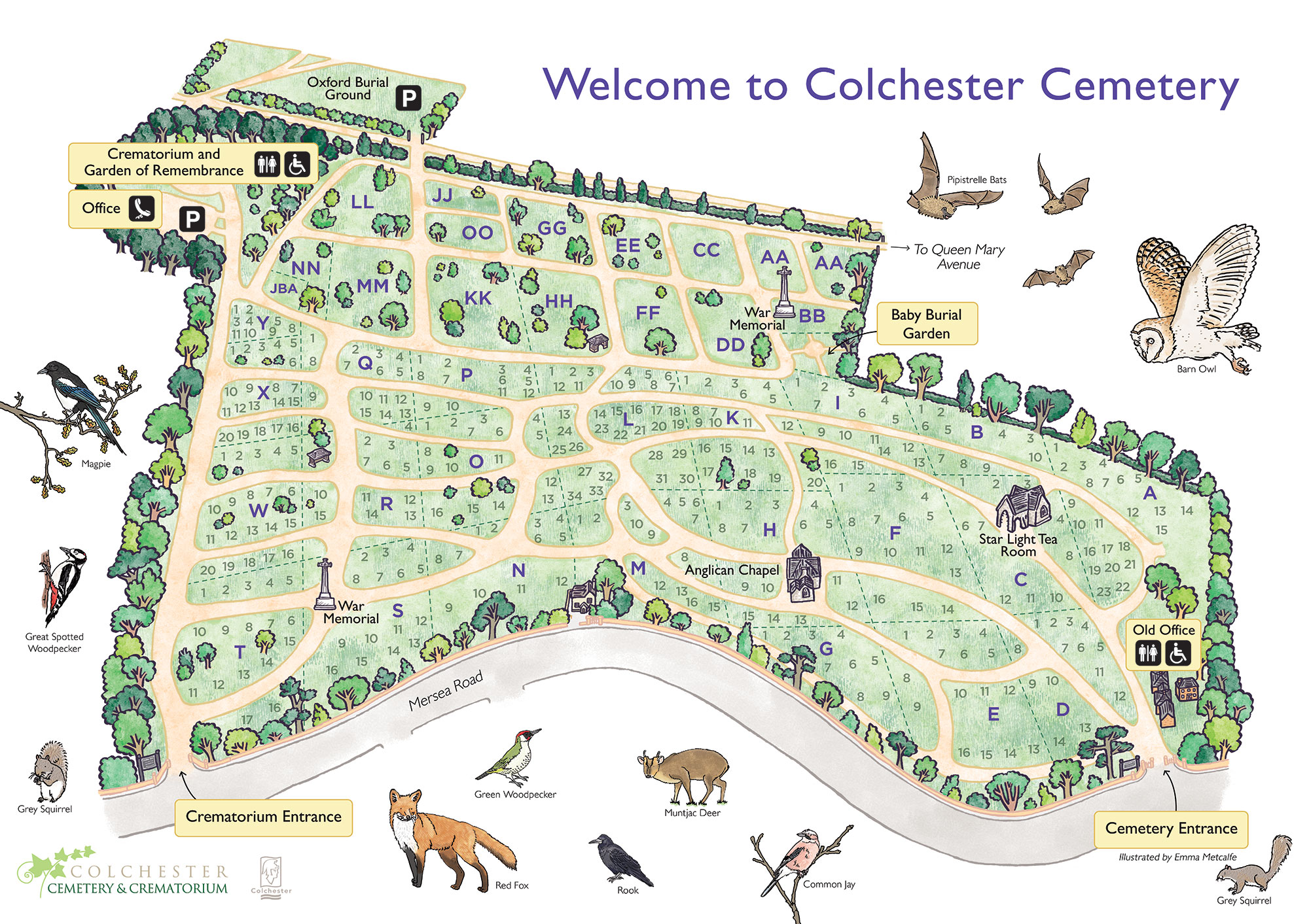 Illustrated map of Colchester Cemetery Blog Emma Metcalfe