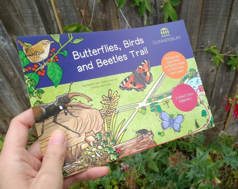 Butterflies Birds and Beetles trail for Gunnersbury Park illustrated by Emma Metcalfe