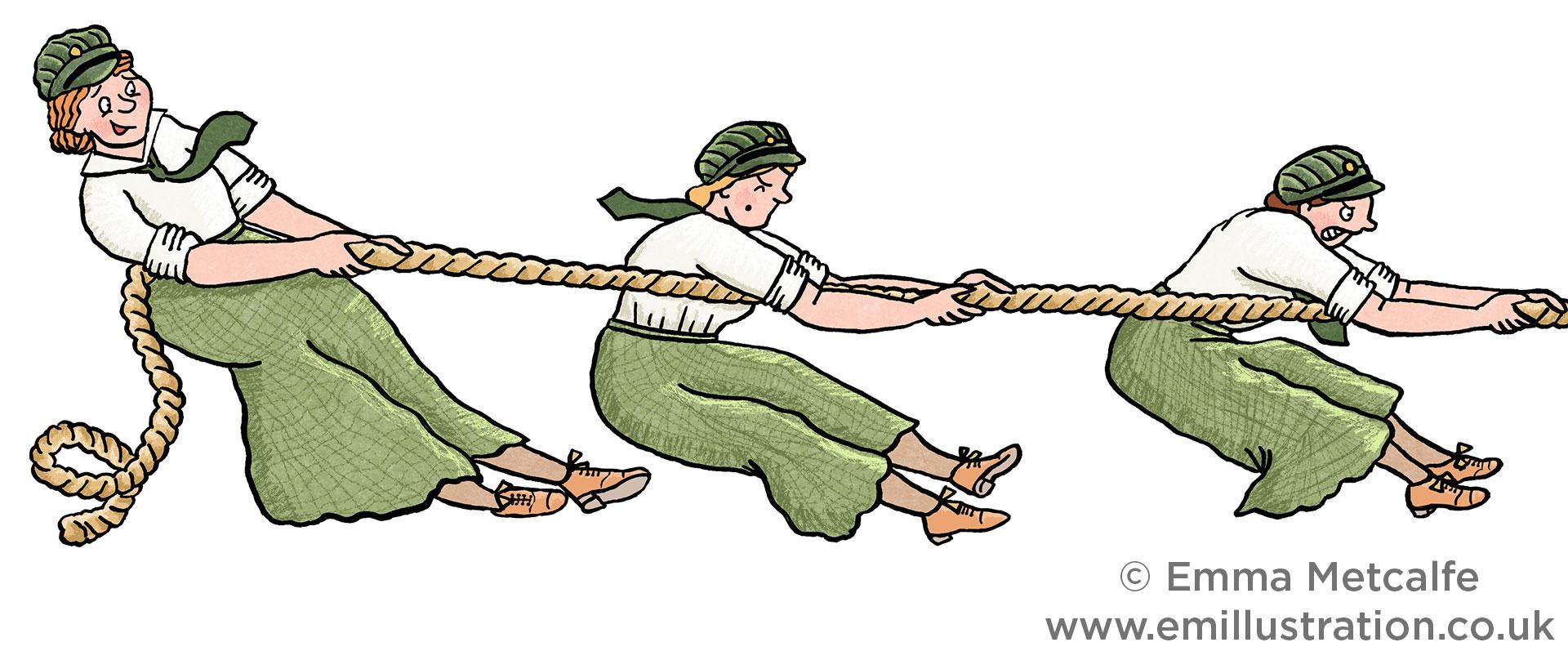 First World War Red Cross Women Ambulance Drivers playing Tug O War at Sports Day by Illustrator Emma Metcalfe